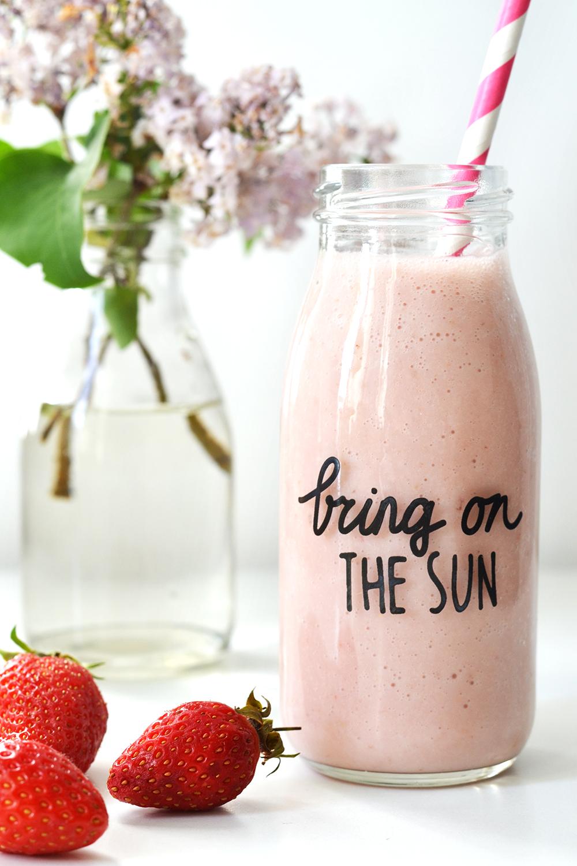 Milkshake fraise et banane (vegan)