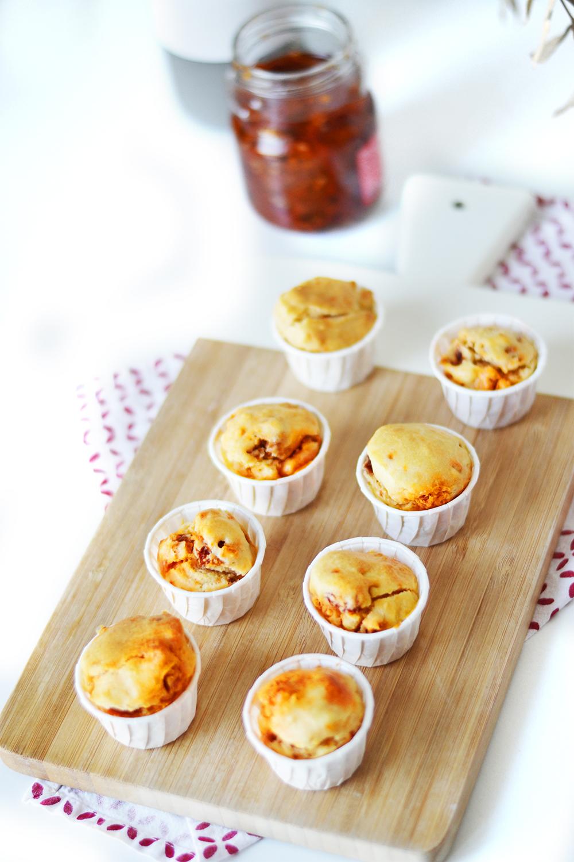 mini muffins chorizo tomates confites